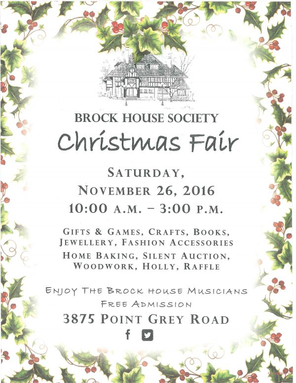 Brock House Society Christmas Fair